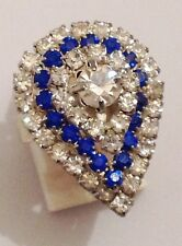 bague poire imposante ancienne couleur argent cristaux diamant  saphir réglable
