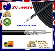 20 metre PREMIUM COAXIAL RG-6 QUAD Shield Cable for Digital TV Antenna/Pay TV