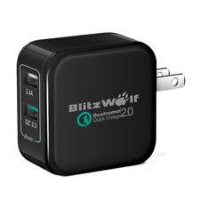 BlitzWolf QC2.0+2.4A 30W Dual USB US Charger Adapt Black Color