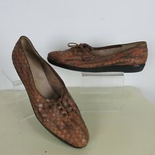 Salvatore Ferragamo Womens 7 Flats Snake Pattern Lace Up Boutique Made in Italy