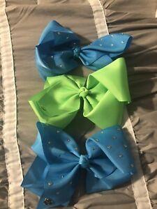 Nickelodeon Signature JoJo Cheer Bows  Light Blue, Lime Green Set Of 3