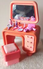 Barbie Desk Vanity Pink 1980s 3 Drawer Dream House Doll Furniture + accessories