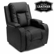 OSCAR BLACK LEATHER RECLINER w DRINK HOLDERS ARMCHAIR SOFA CHAIR CINEMA GAMING
