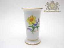 Kleine Meissen Vase mit Blumenmalerei und Goldrand