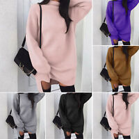 Womens Knitted Oversized Sweater Jumper Dress Ladies Winter Long Pullover Top