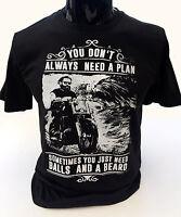 Sfere e un Barba T-Shirt Uomo S-2XL Divertente Motociclista Cafe Racer Moto Top