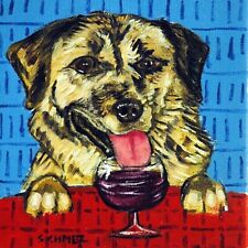 Anatolian shepherd wine art Modern dog Tile coaster gift Jschmetz folk pop art