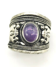 Ring size Adjustable Old Tibetan silver Amethyst