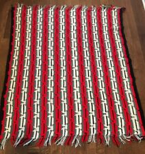 "Gorgeous Hand Crocheted Afghan Blanket 48""x60"" Red Black White Gray Granny"