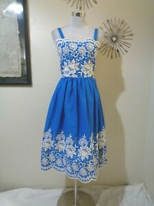 VINTAGE BLUE WITH WHITE HEAVILY EMBROIDERED FULL SKIRT STRAPPY SUNDRESS SZ S