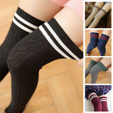 Plus Size Women's Striped Thigh High Long Socks Sheer Over The Knee Stockings