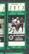 1986 03/16 ticket stub Vancouver Canucks v Chicago Blackhawks Chicago Stadium