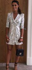 Zara White Silver Sequin Blazer Dress Size L