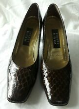 Stuart Weitzman Brown Reptile Print Leather Closed Toe Classic Dress Pumps 7.5AA