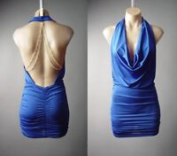 Blue Plunge Drape Neck Gold Chain Open Back Backless Evening 149 mv Dress S M L