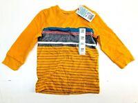 Toddler Boys' Long Sleeve T-Shirt - Cat & Jack  Yellow Stripe 18M NEW