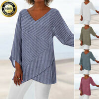 US Womens Fashion Striped V Neck Blouses Loose Baggy Top Tunic T Shirt Plus Size