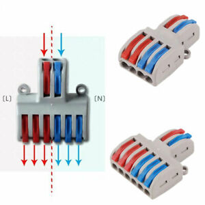 2 In 4/6 Out Reusable Push Lever Electrical Wire Connector Wiring Cable Splitter