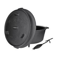 Premium Dutch Oven mit Füßen - preseasoned (bereits eingebrannt) + Deckelheber