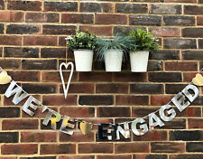 ENGAGEMENT PARTY BANNER WE'RE ENGAGED HEN DO HEN PARTY BUNTING DECORATION SILVER