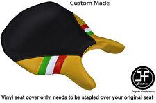BLACK & YELLOW VINYL ITALIAN FLAG CUSTOM FITS DUCATI 999 749 RIDER SEAT COVER
