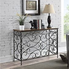Antiqued Metal Wood Sofa Table Console Sofa Living Room Hallway Entry Vintage