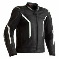 RST AXIS CE MENS LEATHER MOTORCYCLE JACKET BLACK WHITE 44 LARGE ***