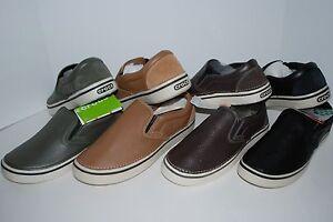 NWT CROCS HOVER SLIP ON LEATHER shoe 9 10 11 12 13 BLACK ESPRESSO BROWN GREEN