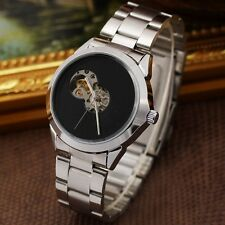 Unique Men's Stainless Steel Automatic Mechanical Watch Vintage Skeleton Dial T1