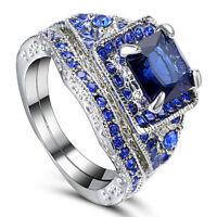Size 6/7/8 Rhodium Plated Women Wedding Engagement Ring Set sapphire Bridal Halo