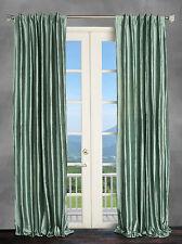 100% Silk Dupioni spa blue lined interlined Curtain Drape Panels 50x96 2 Panels.