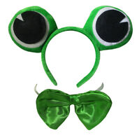 Fun Green Velvet Frog Eyes Headband Bowtie Animal Adult Costume Accessory Set