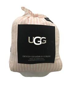 UGG Twin XL Sheet Set-Devon Chambray Pink Sunset Stripe