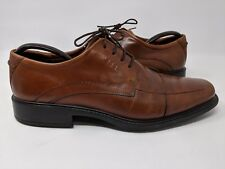 ECCO MENS BROWN CHILI LEATHER OXFORD DERBY CAP TOE SHOES SIZE US 9 9.5 EUR 43