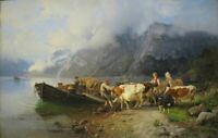"""high quality oil painting handpainted on canvas """"Fjord Landscape with Cattle"""""""