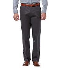 HAGGAR Pants Premium No Iron Khaki 36x34 Straight Flex Waist Stretch Dark Grey