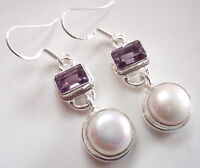 Faceted Amethyst and Cultured Pearl 925 Sterling Silver Dangle Earrings
