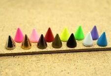 100Pcs Aleación Bala Tachuelas Remaches Cono y manchas picos de 14 Colores #M1517 Ql