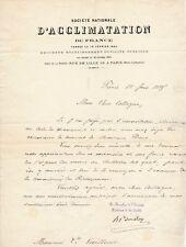 Henri Bouley vétérinaire lettre signée Léon Vaillant zoologiste Acclimatation