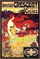 Cycles Crescent 1899 Art Nouveau Vintage Poster Print Art Retro Bicycle Advert