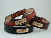 "1"", 1 1/4"", 1 1/2"" Full Grain Leather Dog Collar with Free Laser Engraved Name"