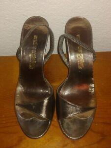 """Andrew Geller vintage sandals slingbacks shoes size 4 B high heels 3.25"""" inch"""