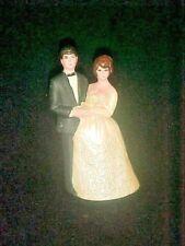 Old 1950s 1960s Plastic Bride & Groom Wedding Cake Topper