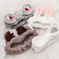1 Pc Women Wash Face Hair Holder Hairbands Soft Warm Coral Fleece Bow Animal Ear
