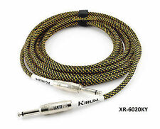 """20ft Kirlin 1/4"""" Mono Male to Male BK/YL Woven Guitar/Bass Amp Pro Audio Cable"""