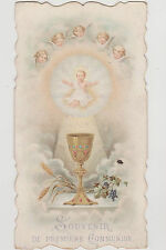 IMAGE PIEUSE-HOLY CARD SANTINI/ CALICE/RAISIN/ANGES/1ERE COMMUNION/ST MICHEL