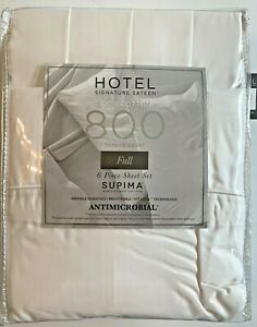 HOTEL 100% Supima Cotton 800 Thread Count 6 Piece Full Sheet Set White NEW