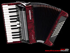 PIANO ACCORDION HOHNER BRAVO II 48 BASS RED PEARL FINISH WITH PADDED CASE NEW!