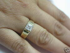 Fine Lady's Princess Cut Diamond Solitaire Yellow Gold Ring 14KT
