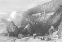 Amalfi Coast, Grand Hotel CAPUCHIN MONASTERY CONVENT ~ 1841 Art Print Engraving